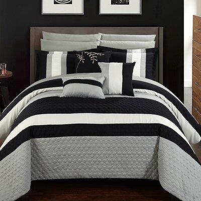 Pueblo 10 Piece Comforter Set Size: King, Color: Black