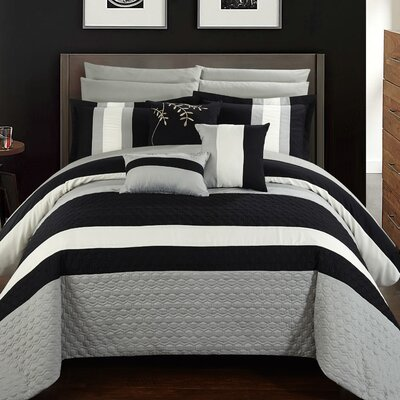 Pueblo 10 Piece Comforter Set Size: Queen, Color: Black