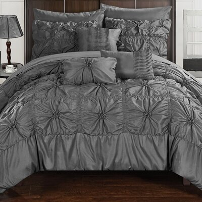 Springfield 10 Piece Comforter Set Size: Twin, Color: Dark Gray