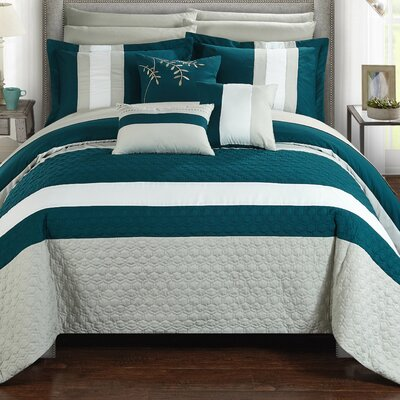 Pueblo 10 Piece Comforter Set Size: Queen, Color: Teal