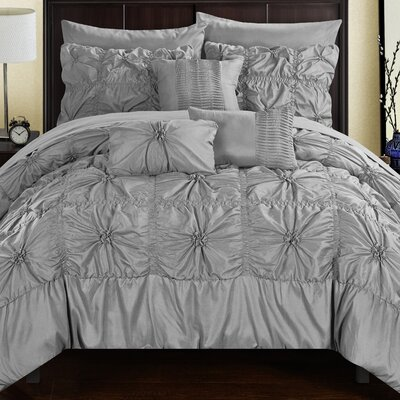 Springfield 10 Piece Comforter Set Size: Twin, Color: Gray