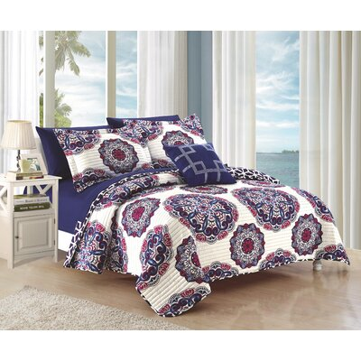 Madrid 4 Piece Quilt Set Size: King, Color: Navy