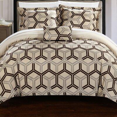 Marcia 8 Piece Comforter Set Size: King, Color: Beige