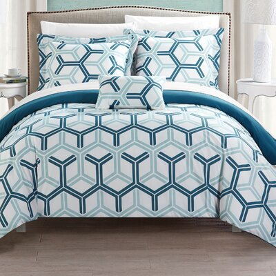 Marcia 8 Piece Comforter Set Size: Full/Queen, Color: Blue