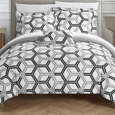 Marcia Reversible Comforter Set Size: Twin, Color: Gray