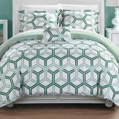 Marcia 8 Piece Comforter Set Size: King, Color: Green
