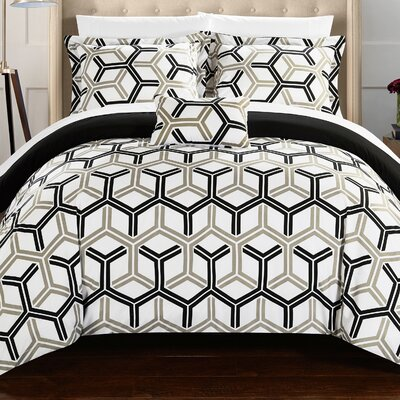 Marcia 8 Piece Comforter Set Size: King, Color: Black
