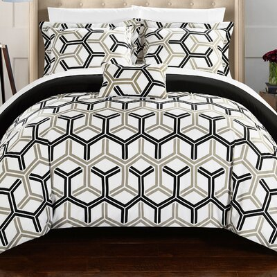 Marcia Reversible Comforter Set Size: Full/Queen, Color: Black