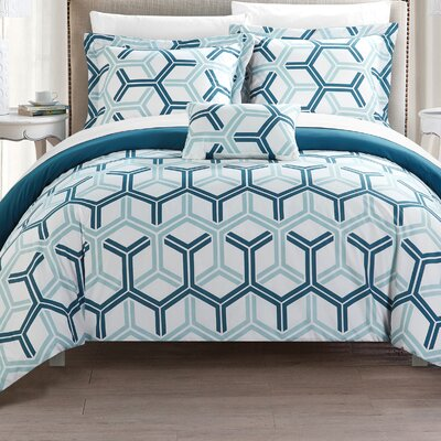 Marcia Reversible Comforter Set Size: King, Color: Blue