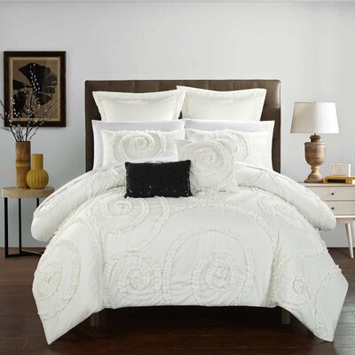 Rosalia 7 Piece Comforter Set Size: Queen, Color: White