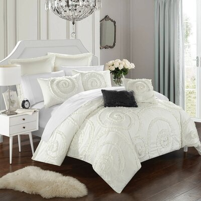 Rosalia 11 Piece Comforter Set Size: King, Color: White/Ivory