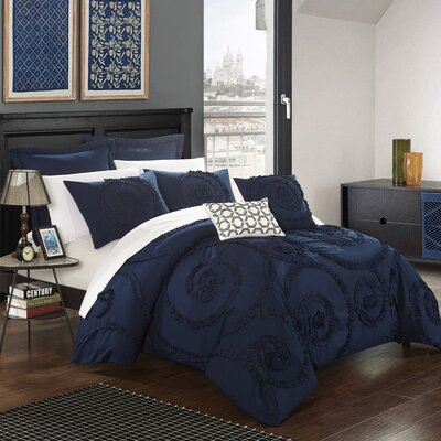 Rosalia 7 Piece Comforter Set Size: Queen, Color: Navy
