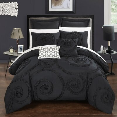 Rosalia 7 Piece Comforter Set Size: Queen, Color: Black