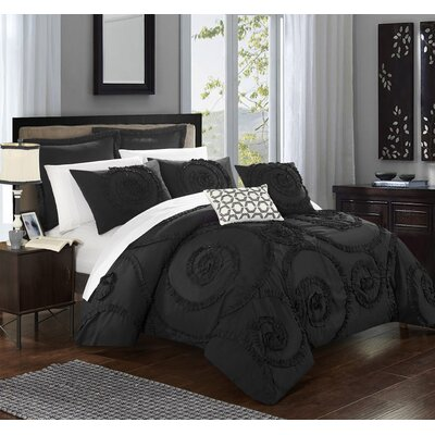 Rosalia 11 Piece Comforter Set Size: Queen, Color: Black