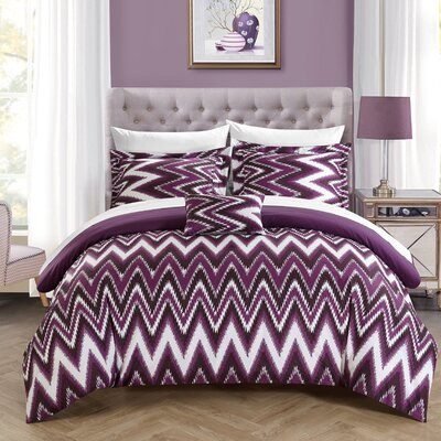 Bella Reversible Comforter Set Size: Twin, Color: Purple