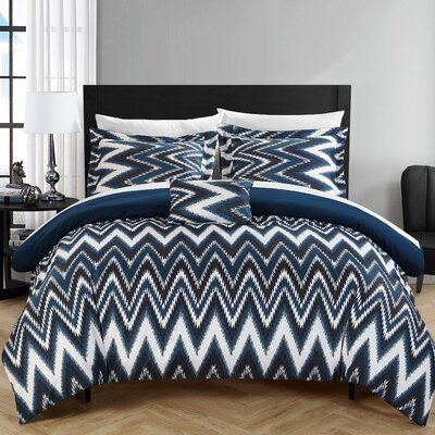 Bella Reversible Comforter Set Size: Twin, Color: Navy
