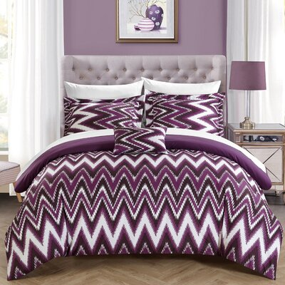 Bella 8 Piece Comforter Set Size: King, Color: Purple