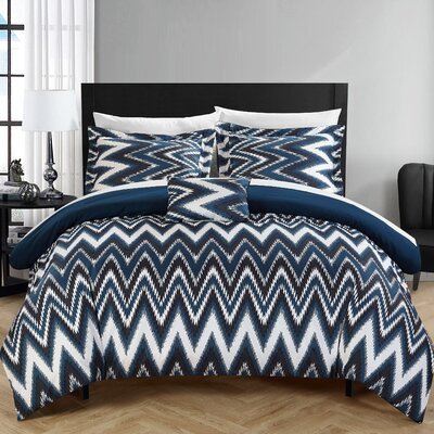Bella 8 Piece Comforter Set Size: King, Color: Navy