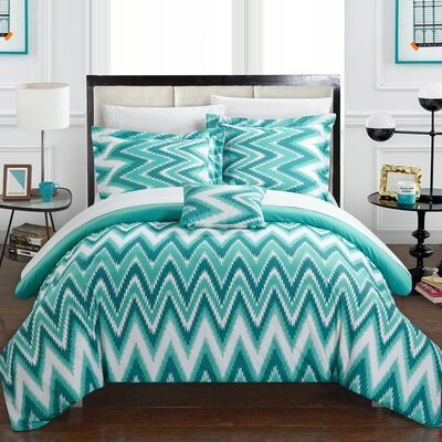 Bella Reversible Comforter Set Size: King, Color: Turquoise