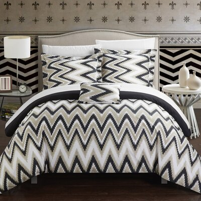 Bella 8 Piece Comforter Set Size: King, Color: Black