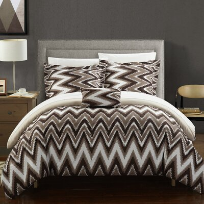 Bella Reversible Comforter Set Size: Twin, Color: Beige
