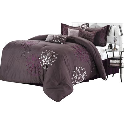 Cheila 8 Piece Comforter Set Color: Plum, Size: King