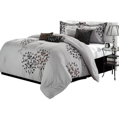 Cheila 8 Piece Comforter Set Size: King, Color: Silver