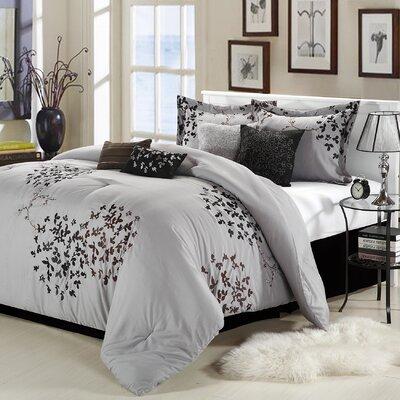 Cheila 12 Piece Comforter Set Size: Queen, Color: Silver