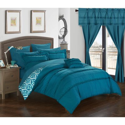 Adina 20 Piece Comforter Set Size: Queen, Color: Blue