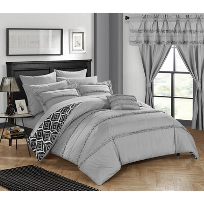 Adina 20 Piece Comforter Set Size: Queen, Color: Gray