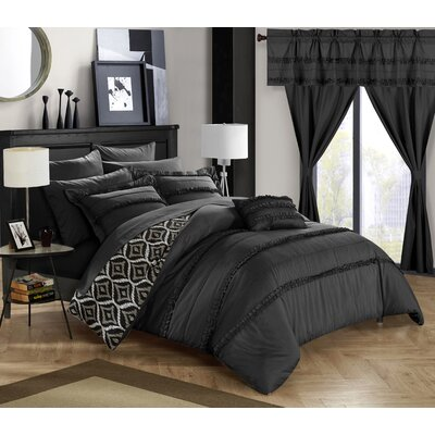 Adina 20 Piece Comforter Set Size: King, Color: Black
