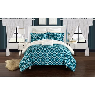 Adina 20 Piece Comforter Set Size: King, Color: White
