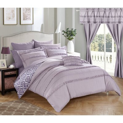 Adina 20 Piece Comforter Set Size: King, Color: Lavender
