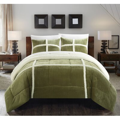 Chloe 7 Piece Comforter Set Size: Queen, Color: Green