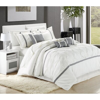 Charissa 8 Piece Comforter Set Color: White/Silver, Size: Queen
