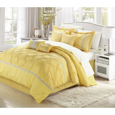 Charissa 8 Piece Comforter Set Color: Yellow/Grey, Size: Queen