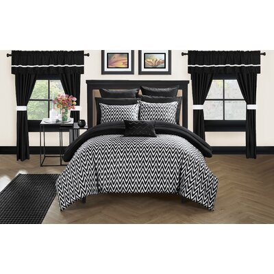 Jacksonville 20 Piece Reversible Bed Size: Queen, Color: Black