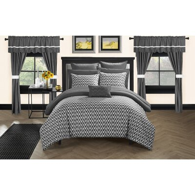 Jacksonville 20 Piece Reversible Bed Size: Queen, Color: Gray
