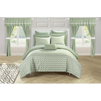 Jacksonville 20 Piece Reversible Bed Size: King, Color: Green