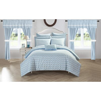 Jacksonville 20 Piece Reversible Bed Size: King, Color: Blue
