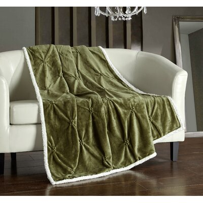 Alba Pinch Pleated Sherpa Faux Fur Throw Blanket Color: Green