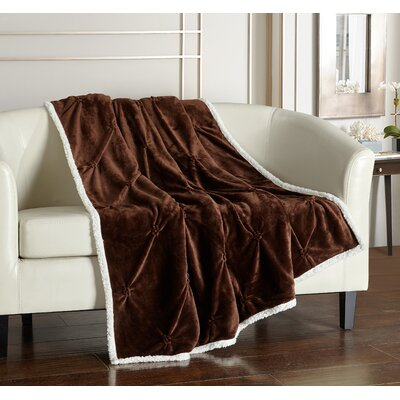 Alba Pinch Pleated Sherpa Faux Fur Throw Blanket Color: Brown