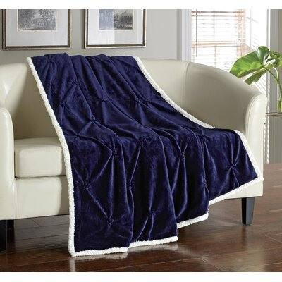 Alba Pinch Pleated Sherpa Faux Fur Throw Blanket Color: Navy