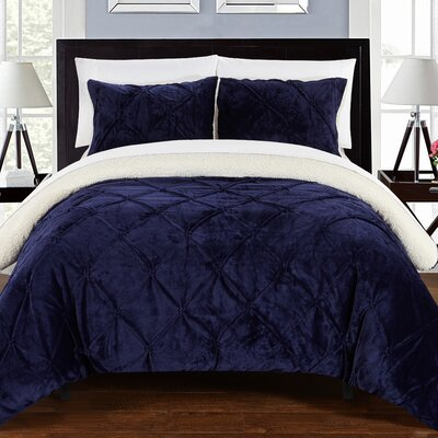 Fontane Traditional 7 Piece Comforter Set Size: Queen, Color: Navy