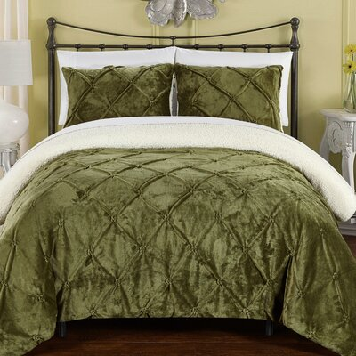 Fontane Comforter Set Size: King, Color: Green