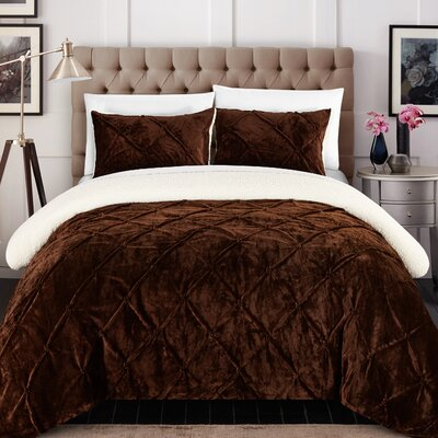 Fontane Comforter Set Size: Twin XL, Color: Brown