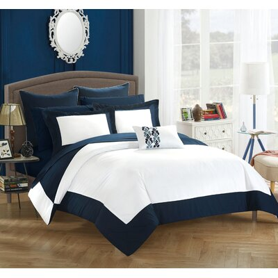 Peninsula Reversible Comforter Set Size: Queen, Color: Navy/Bright White