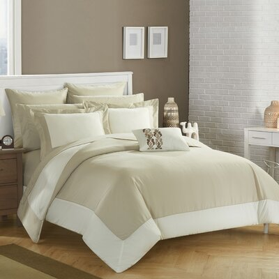 Peninsula Reversible Comforter Set Size: King, Color: Beige/Bright White