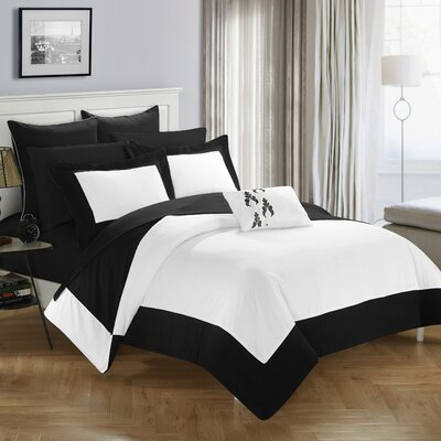 Peninsula Reversible Comforter Set Size: Queen, Color: Black/Bright White