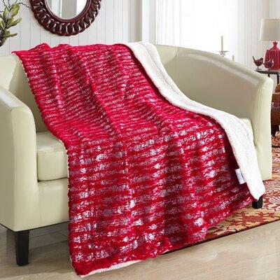 Bindi Ultra Plush Sherpa Lined Blanket Color: Red